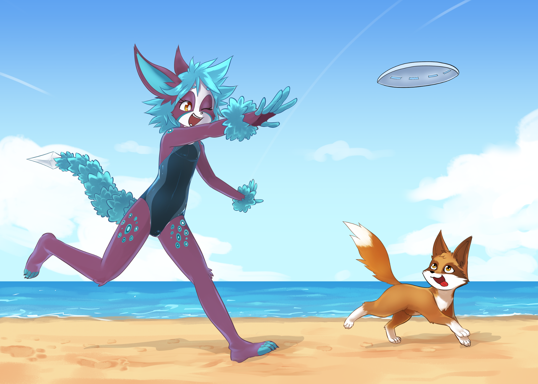Pooka and Waff at the Beach 2