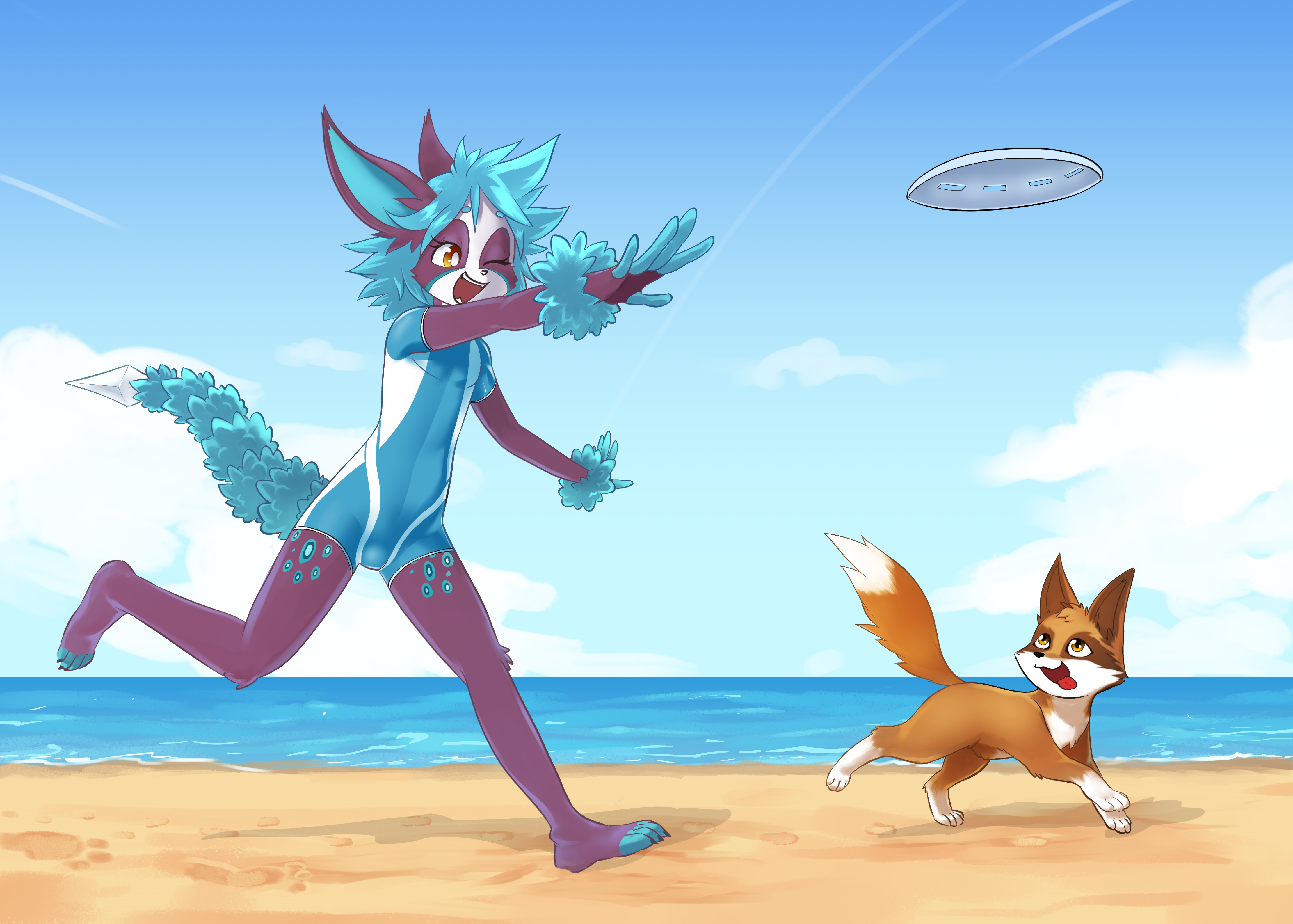 Pooka and Waff at the Beach 1
